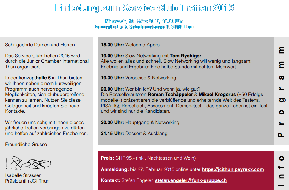 Serviceclub-Treffen Region Thun - JCI LOM Thun - Junior Chamber International