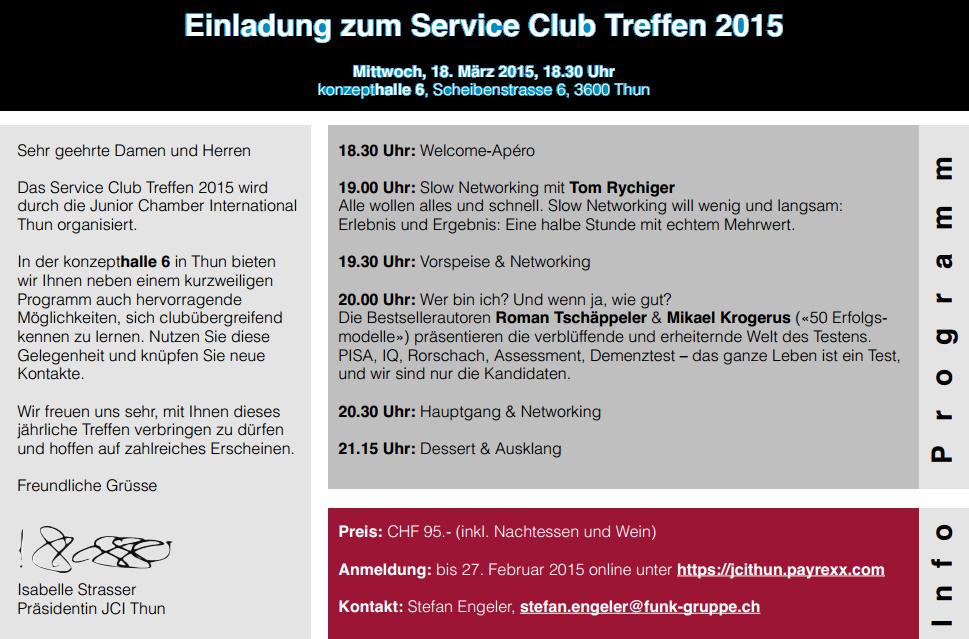 Serviceclub-Treffen Region Thun - JCI LOM Thun - Junior Chamber International